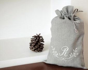Monogrammed Linen Gift Bag