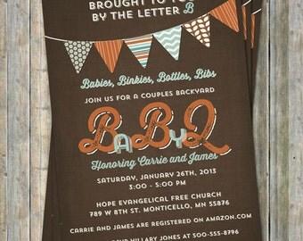 BABYQ baby shower invitation with banner, brown, aqua, orange digital, printable file