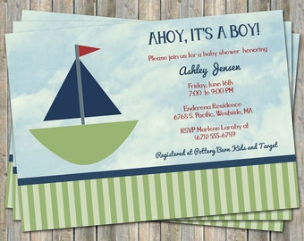 Sailboat Baby shower invitation, Ahoy, Its a boy,  digital printable file