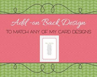 Simple Back design to match, digital, printable file