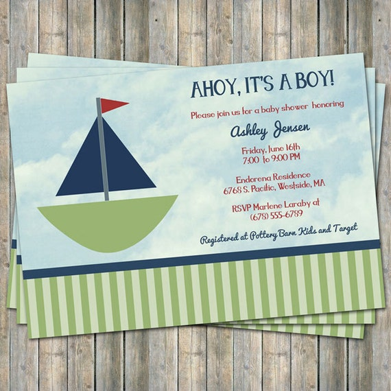 sailboat baby shower invitation ahoy its a boy digital printable
