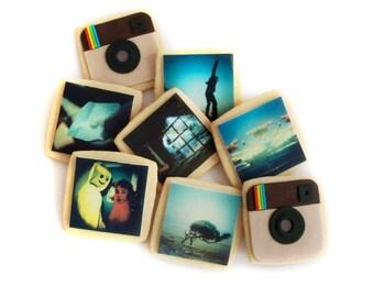 instagram camera and custom instagram photo cookies gift box (8 cookies)