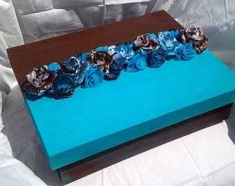 A Touch of Wimsy Blue and Brown Memory Storage Box Wedding Bridal Box
