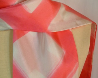 CLEARANCE - Vintage 1980's Pink & White Acetate Scarf with Fringe