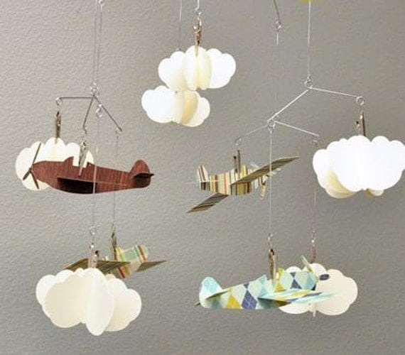 Airplane and Cloud Hanging Mobile Perfect for a Boy for the Bedroom or a Baby Shower