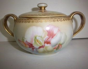 Vintage Bavarian Sugar Bowl w/ Lid and Two Handles Floral Design & Gold Accents