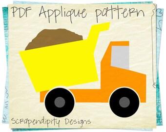 Dump Truck Applique Pattern - Construction Applique Template / Baby Nursery Quilt / Kids Dump Truck Shirt / DIY Boys Wall Hanging AP179-D