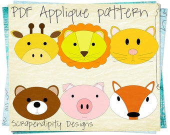 Fabric Applique Template - Animal Bundle Applique Pattern / Kids Quilt Pattern / Clothing Design / Scrapbook Template / Iron on Transfer D