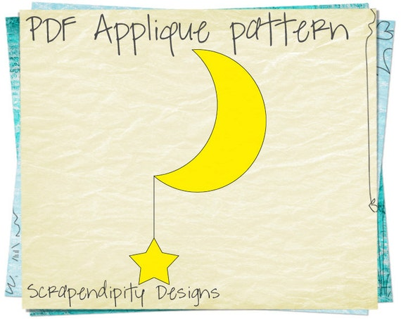 Moon And Star Fabric Applique Template