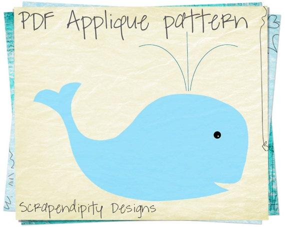 Whale Applique Pattern - Animal Applique Template / Toddler Whale Shirt / Kids Girls Clothing Tops / Ocean Quilt Pattern / Printable AP194-D