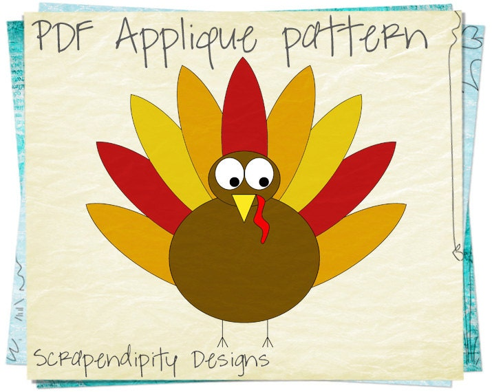 Turkey Applique Pattern Thanksgiving Quilt Applique Template