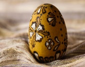 Easter Egg Decorative Yellow Painted & Wood Burned / Pyrography