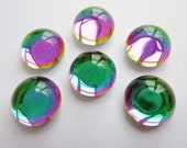6 glass cabochons, Ø12mm, vitrail Green