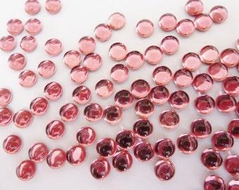 24 glass cabochons, Ø5mm, pink