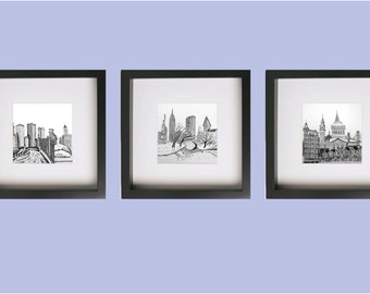 3 prints new york chicago san fransisco drawings fits ikea frame ribba