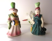 Vintage Anthropomorphic Vegetable Salt & Pepper Shakers