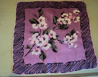 Vtg. Linen Hanky Apple Blossoms