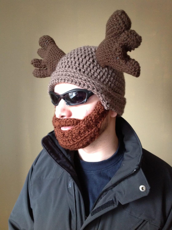 Crochet Pattern For Mens Beanie With Beard : Handmade Crochet Moose Beard Hat in light brown beanie hat