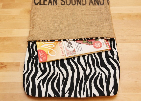 Large Fairtrade Coffee Sack & Zebra Print Magazine, Book  and Tablet Travel Bag