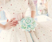 Felt flower bouquet polka dot buttons - Alternative bridal aqua turquoise green