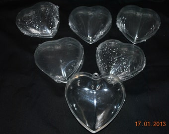 6 large Clear Plastic Hearts
