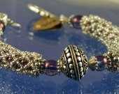 Bracelet silver netted purple beads with sterling focal bead