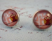 SPRING SALE Pink Owl 12mm Round Studs on Sterling Silver Plated Posts
