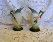Pair Hull Woodland blue vases 2 matched vases 1940s vintage