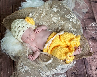 Cream and Yellow Bonnet and Pants Set