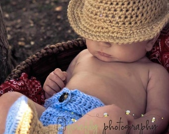 Crochet cowboy or cowgirl  hat, diaper cover, and boots made to order FREE US SHIPPING
