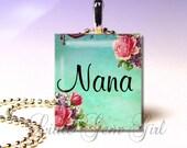 Nana Necklace Charm - Nana Pendant Jewelry - Custom Name Victorian Elegance Scrabble Pendant - Mothers Day Nana Mom Mimi - Nana Key Chainy