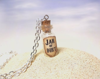 Jar of Dirt Glass Bottle Necklace - Pirate Treasure Necklace - Pirate Jewelry - Dead Man's Chest - Miniature Glass Vial Charm