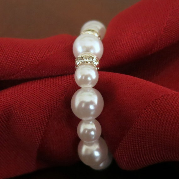 Wedding Table Decor - White Pearl Napkin Rings with Bling - Fifty (50)