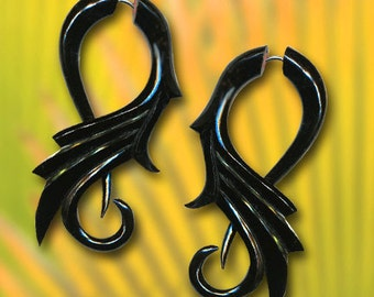 Tribal Feathers - Fake Gauge Earrings -Black Eco-Friendly Horn Carvings - H01