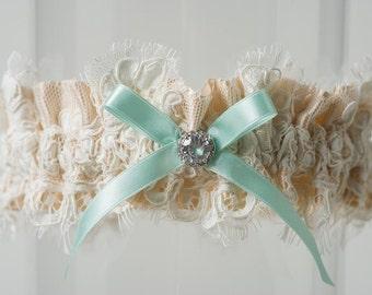 """Wedding Garter Champagne Alencon Lace Rhinestone Blue Bridal Garter """"Naomi"""""""