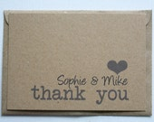 Wedding thank you cards with envelopes (set of 40)