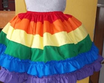 Rainbow Skirt Petticoat Pettiskirt Adult Plus Size