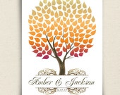 Unique Fall Wedding Guest Book - The Seaswik - A Peachwik Interactive Art Print - 125 guests -  Autumn Wedding Tree