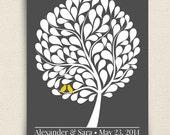 Guest Book Alternative - The Bubblewik - A Peachwik Personalized Art Print - 100 guest sign in - Love Birds in A Bubble Tree Guestbook