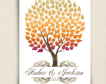 Unique Fall Wedding Guest Book - The Seaswik - A Peachwik Interactive Art Print - 125 guests -  Autumn Wedding Tree