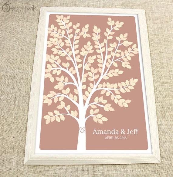 Wedding Guest Book Tree - The Dreamwik - A Peachwik Interactive Art Print - 225 guest sign in - Chevron Stripe Wedding Dream Tree