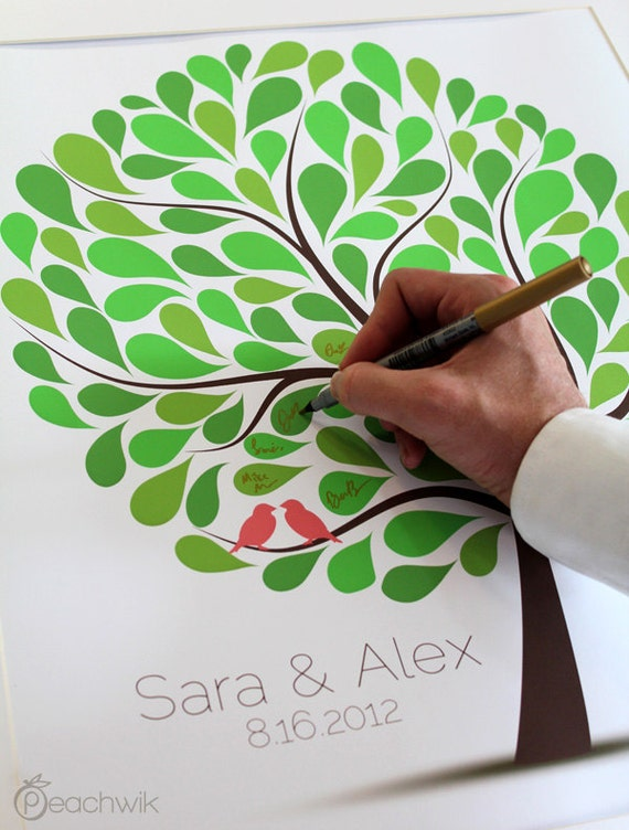 Wedding Guest Book Tree - The Spotwik - A Peachwik Personalized Art Print - 100 guest sign in - Confetti Dots Wedding Tree Guestbook