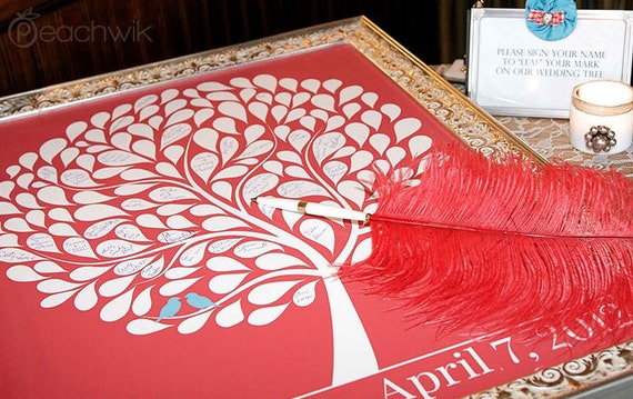 Wedding Guestbook Alternative - 150 Signature Tree Print - Love Birds Nesting In A Bubble Tree - Art Print