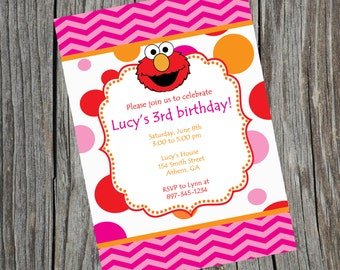 Elmo Invitation.  Elmo birthday Invitation.  Elmo Invite.  Elmo Party.  Elmo Printable. Digital Invitation.  Sesame Street Invitation.