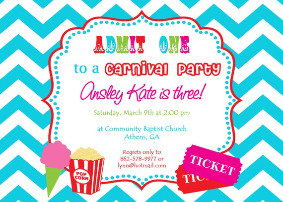 printable carnival birthday party invitation. girly circus, Birthday invitations