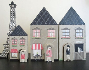 Four piece French Village with stable