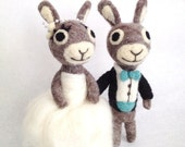 """The Adorawools Bride and Groom Bunnies - 5"""" Custom make Cake Topper"""