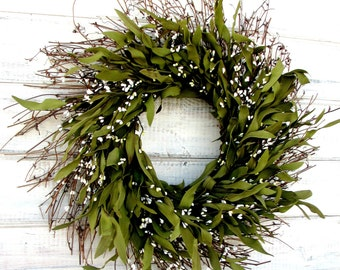 Christmas Wreath-Farmhouse Wreath-Rustic Twig Wreath-Winter Wreath-Housewarming Gift-BAY LEAF Wreath-Scented Wreath-Holiday Home Decor-Gifts