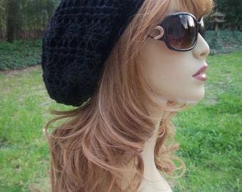 Womens Black Hat Womens Black Hat Cashmere Womens Black Hat Winter Women Black Hat Crochet Women Black Hat Slouchy Women Black Free Shipping