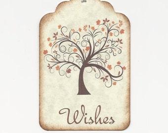 50  Wedding Wish Tags-ORANGE leaves - Wedding Favors- Escort Cards - Wish Tree Tags